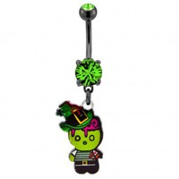 316L Surgical Steel Irish Zombie Dangle Navel Ring with Green CZ - 14G, 3/8'' Length - Sold as a Single Item
