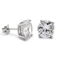 Round Cut CZ .925 Sterling Silver Stud Earrings