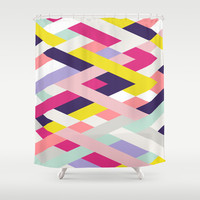 Smart Diagonals Blue Shower Curtain by House of Jennifer