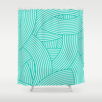New Weave in Aqua Teal Shower Curtain by House of Jennifer