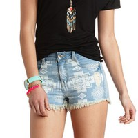 DOLLHOUSE DISTRESSED TRIBAL DENIM SHORTS