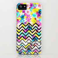 BLACK CHEVRON WITH FLOWERS iPhone & iPod Case by Ylenia Pizzetti