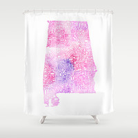 Typographic Alabama - Pink Watercolor map art Shower Curtain by CAPow!