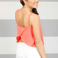 Breezy Beginnings Crop Top - Coral