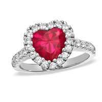 8.0mm Lab-Created Heart-Shaped Ruby and White Sapphire Frame Ring in Sterling Silver - View All Rings - Zales