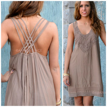 Sweet Alabama Mocha Lace Dress
