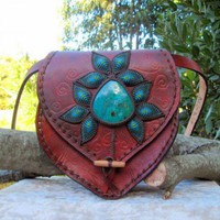 CHRYSOCOLLA MACRAME LEATHER BLOOM HANDBAG | mundialtreasures - Bags &amp; Purses on ArtFire