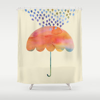 Rainbow Umbrella Shower Curtain by Kanika Mathur
