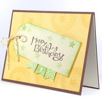 Starry Happy Birthday Tag And Handmade Card With Banners  | cardsbylibe - Cards on ArtFire