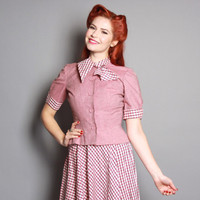 50s DRESS & Jacket SET / Girl Next Door Pink Gingham, s
