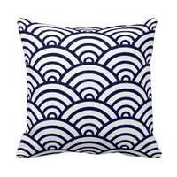 Navy Blue & White Scallop Pattern