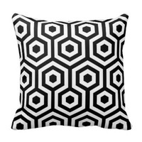 Elegant Black and White Pattern Pillow