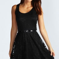 Lauren Lace Belted Skater Dress