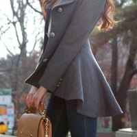 OL Style High-low Hemline Worsted Coat for big sale!