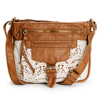 T-Shirt & Jeans Kelsey Crochet & Cognac Faux Leather Purse