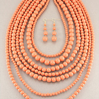 Coral Layered Necklace & Earring Set from P.S. I Love You More Boutique