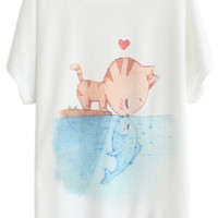 ROMWE Cat Kisses Fish Print White T-shirt