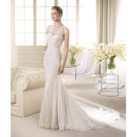 Noble Vintage Sweep Mermaid V-neckline Taffeta Wedding Dress