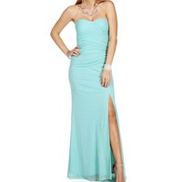Jessimae- Aqua Glittery Strapless Prom Long Dress