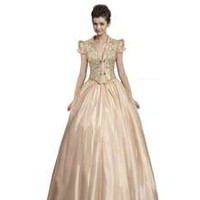 Coniefox Cap Sleeves V-Neck Long Sequin Prom Dresses Size XXL Color Gold