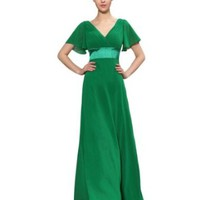 Ever Pretty Glamorous Double V-Neck Ruffles Padded Evening Maxi Dress Size 09890