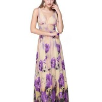 Ever Pretty Sexy Double V-neck Floral Printed Chiffon Long Formal Party Dress 09638