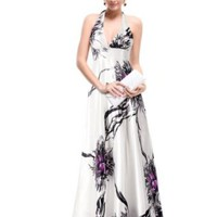Ever Pretty Empire Waist Padded Floral Print Sexy Plunge V-neck Prom Party Maxi Dress 09614