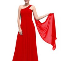 Ever Pretty One Shoulder Padded Ruffles Fashion Long Evening Party Dresses 09816