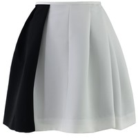 Color Block Two-Tone Pleated Skirt