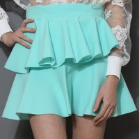 Flaring Ruffle Skirt in Mint