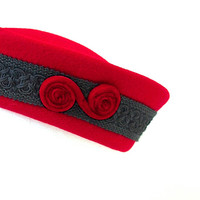 Red Felt Pill Box Hat With Black Brocade And Red Velvet Trim / Vintage Hat