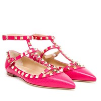 VALENTINO | Rockstud Grained Leather Flats | Browns fashion & designer clothes & clothing