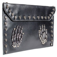BLUE BANANA SKELETON HANDS STUDDED CLUTCH BAG (BLACK)