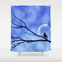 Blue Moon Bird v2 Shower Curtain by Webgrrl