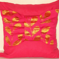 DRAPERY satin - BOW with orange leaves fuchsia pillow 18x18