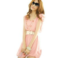 Amazon.com: Allegra K Women Double V Neck Fairy Flower Decor Shoulder Chiffon Dress Pink S: Clothing