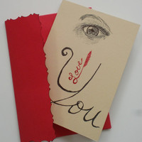 I love you, eye love you, love you notecard, original pen sketch,