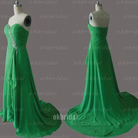 green prom dresses, emerald green prom dresses, dresses for prom, prom dresses 2014, chiffon prom dresses, cheap bridesmaid dresses, RE566