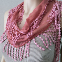 ON SALE, Peach Scarf, Peach Lace Scarf, Cowl with Lace Edges, Woman Fashion Accessories