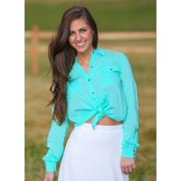 BB DAKOTA:Sitting By The Sea Blouse-Mint