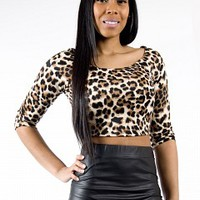 26721-12-2-4 Leopard Crop Top Apparel Tops LEOPARD Bare Feet Shoes