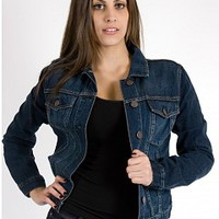 Celebrity Pink 26L-5193-8-3 Celebrity Pink Denim Jacket Apparel Tops DK BLUE Bare Feet Shoes