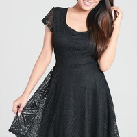 Black Short Sleeve Crochet Lace Baby Doll Skater Dress #lbd #crochet #lace #babydoll