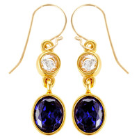 Double-Oval Party Earrings, TanzaniteEVELYN KNIGHT