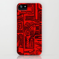 tribal in red and black iPhone & iPod Case by Marianna Tankelevich