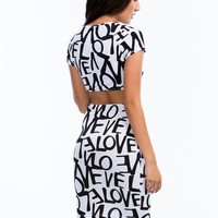 Lucky In Love Graffiti Cut-Out Dress