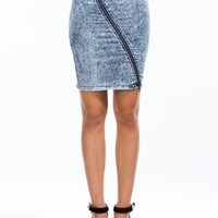 Zip Into Shape Acid Wash Pencil Skirt