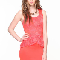 LACY PETAL PEPLUM DRESS