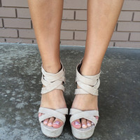 Beige Suede Entwined Wedges