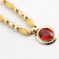 Vintage 12k Yellow Gold Filled Ruby Red Pendant Necklace - 1940s Victorian Revival Jewelry Hallmarked Hayward